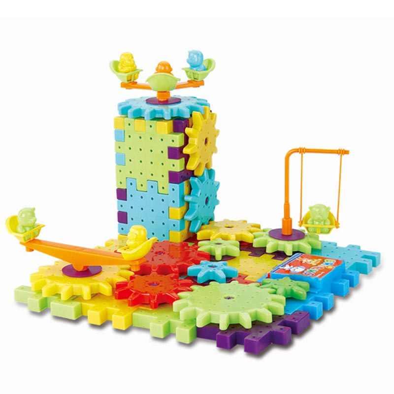 Горячая новинка 81 шт. Пластиковые Электрические шестерни 3D Строительные блоки наборы DIY кирпичи развивающие игрушки для детей рождественские подарки