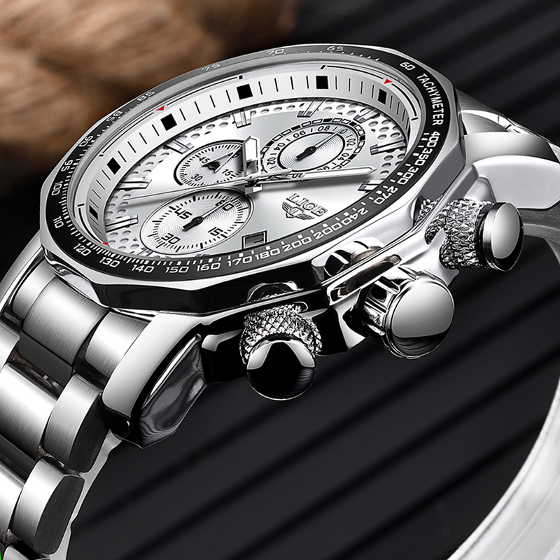 LIGE Stainless Steel Men Watch Top Brand Luxury Fashion Business Big Dial Sport Waterproof Date Watches Mens Relojes Para Hombre