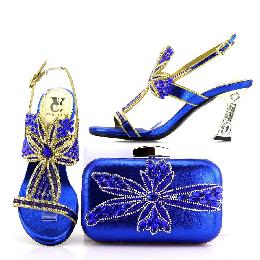 Royal Blue Color Shoe and Matching Bag for Nigeria Party African Wedding Shoes and Bag Set Italian Wedding Lady sandals and Bag doershow italian shoes with matching bags nigeria wedding shoes and bag to match stones african shoe and bag set for lady kh1 14