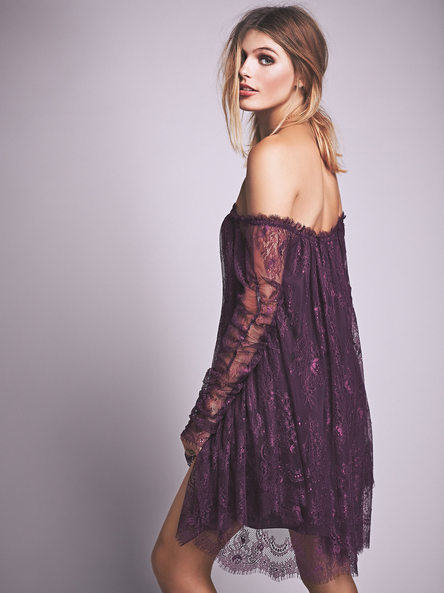 Cute Slash Neck Sexy Mini Lace Dress - Fashion Trendy Shop-2174