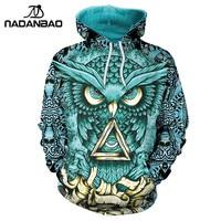 NADANBAO New Design Hiphop Hoodies Owl 3D Printing Gold Metal Cool Fashion Autumn Sweatshirt Thin Hooded