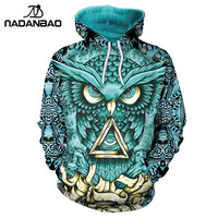 NADANBAO New Design Hiphop Hoodies Owl 3D Printing Gold Metal Cool Fashion Autumn Sweatshirt Thin Hooded