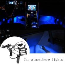 4×3 светодио дный салона фары автомобиля подошвы атмосфера огни Indoor светодио дный модернизации огни ног декоративные 4 in1 значок-эмблема свет