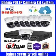 Original English Dahua 8ch waterproof IPC-HDBW1320E 3MP dome POE onvif IP camera kit with 8POE NVR recorder with HDBW1320E