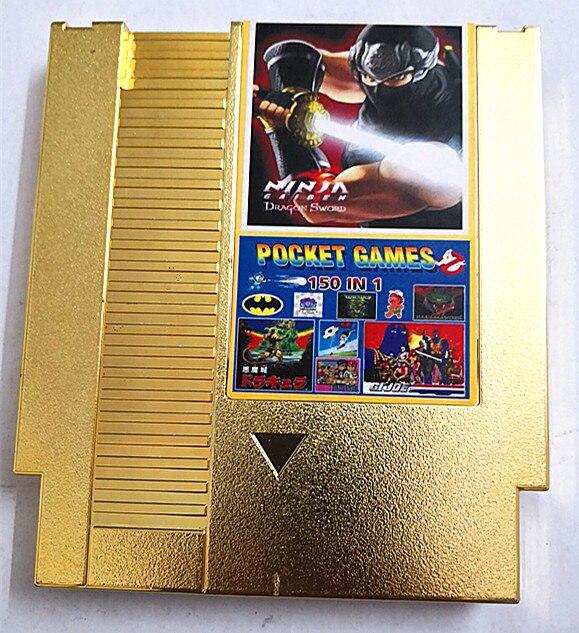 خرطوشة مطلية بالذهب إصدار 150 في 1 لخرطوشة لعبة NES 72 Pins استبدال غطاء بلاستيكي