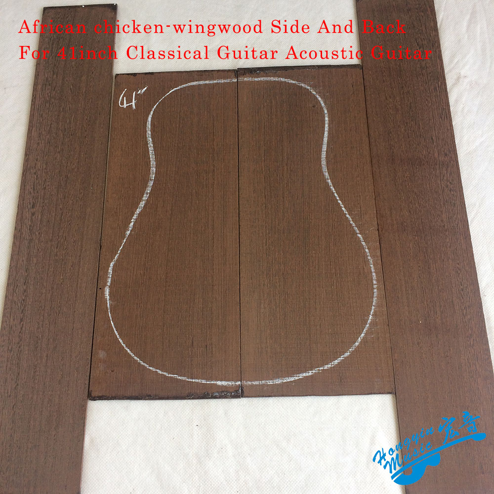 African Chicken-wingwood Side And Back Panel Set For 41inch Classical Guitar Acoustic Guitar DIY Handmade Guitar Material 30pcs 360mm 180mm diy acoustic guitar pickguard plate blank adhesive back flower spot pvc new