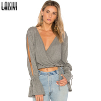 LAISIYI Split Long Flare Sleeve T Shirt Women Sexy V Neck Crop Top Lace Up Cropped