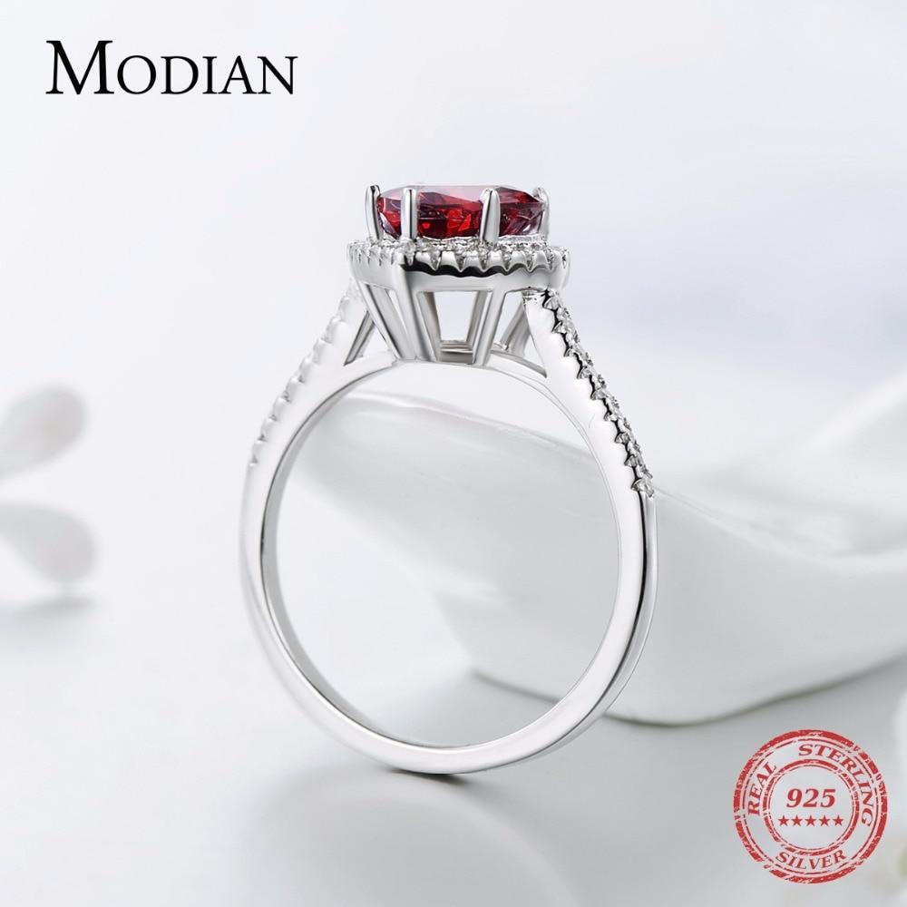 Modian 100% Prawdziwa 925 Sterling Silver Red Heart Pierścień 5A CZ - Modna biżuteria - Zdjęcie 5