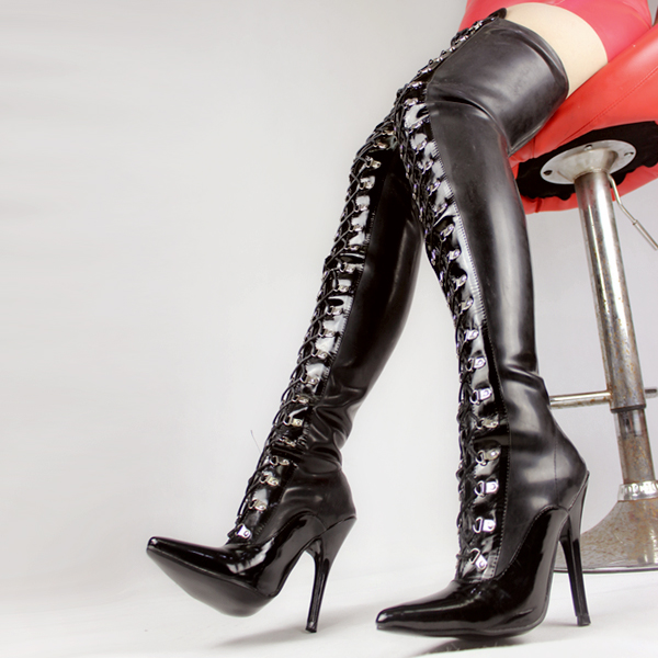 Thigh High Black Latex Back Lace Up with 4 inch high heel fetish latex rubber boots