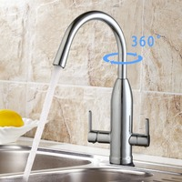 Modern New Polished Chrome Kitchen Faucet Dual Handle Water Purifier 360 Degree Swivel Vessel Sink Mixer