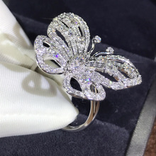 Luxury Butterfly Women Ring 925 Sterling Silver Filled Promise Party Ring Jewelry Best Gifts bocai silver 925 silver butterfly ring gently move as the moment flew into your eyes