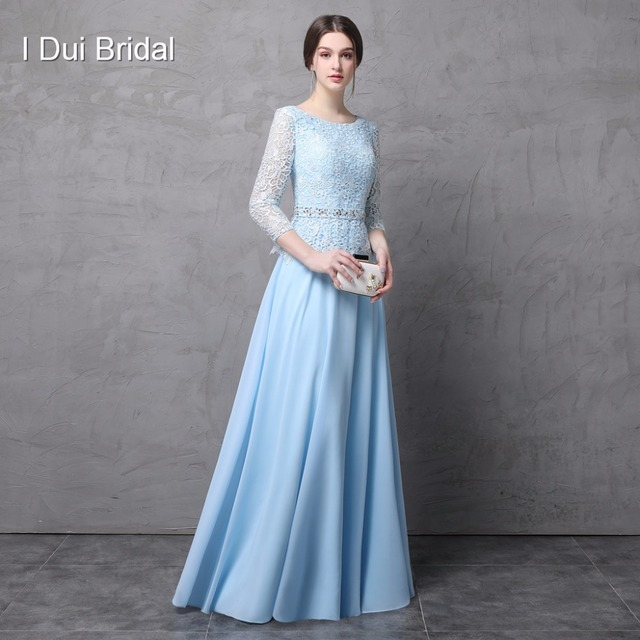 Three Quarter Long Sleeve Mother of the Bride Dresses A line Lace Chiffon Floor Length Wedding Mother Dress