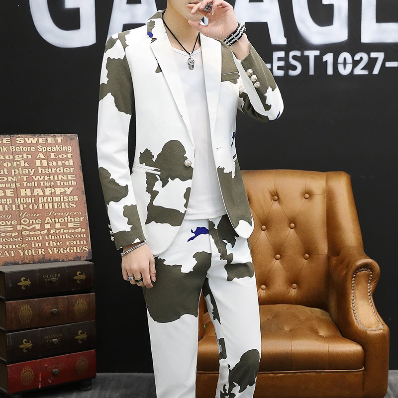 BO New Spring 2019 Men Suit For Printing Youth Camouflage Two-piece Suit Of Cultivate One's Morality Leisure Suit