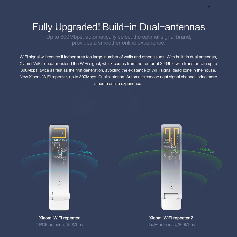 Xiaomi WIFI Repeater 2 Universal Repitidor Wi-Fi Extender 2 Amplificador 300Mbps Extende Signal Enhancement Wireless Routers (2)