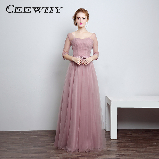 CEEWHY Half Sleeve Evening Dresses Long Party Elegant Vestido De Festa Long Prom  Gown 2017 Robe De Soiree Wedding Party Dress b1dfe9e8e641