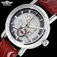 2016 WINNER Famous Brand Men Fashion Automatic Self Wind Watches Skeleton Black Dial Transparent Glass Silver