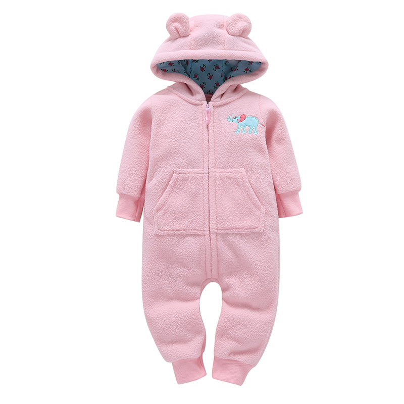 100% Cotton Candy Pink Baby Girls One Piece Romper Floral Print Hooded Elephant Print Zipper Babys Climbing Clothes New Brand