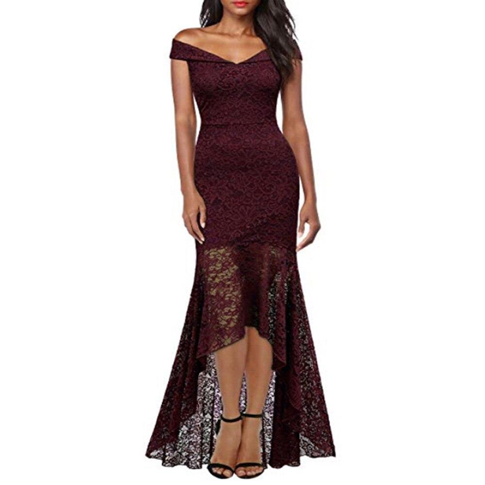 Court avant longue dos fête formelle dentelle robes 2019 Slash cou dentelle femmes robe rouge foncé bleu haut bas robe Vestidos De Novia - 6