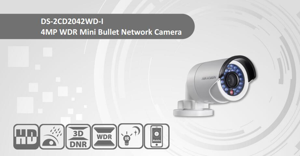 Free Shipping HIKVISION DS-2CD2042WD-I 4MP IR Bullet Network Camera IP67 Waterproof IP C ...