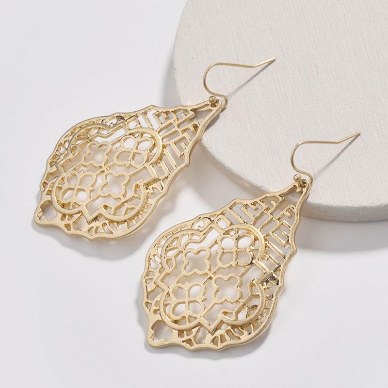 Fashion Women Brand Jewelry Designer Inspired Small Wholesale Cut Out Oval Polished Metallic Teardrop Hollow Drops Earrings New Drop Earrings Aliexpress