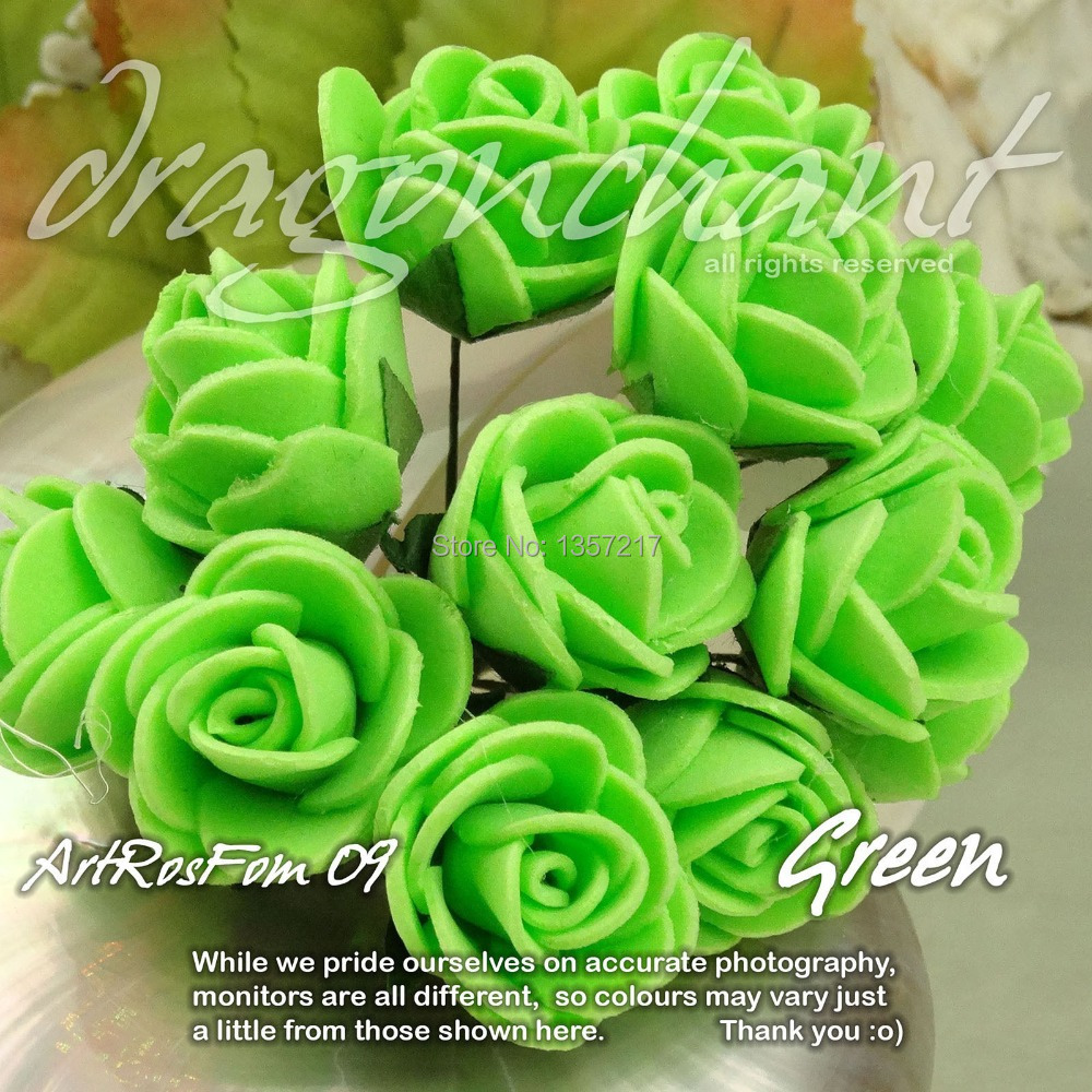 Free Shipping Solid Green Color 144pcs Lot Size 20mm Head Pe Rose Foam Flower Bouquet Sbooking Artificial