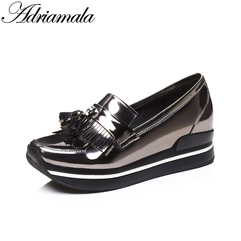 2018 Cow Leather Casual Shoes Women Round Toe Slip-on Genuine Leather Hidden Heels Flats Platform Shoes Women Loafer Adriamala genuine cow leather spring shoes wedges soft outsole womens casual platform shoes high heel round toe handmade shoes for women