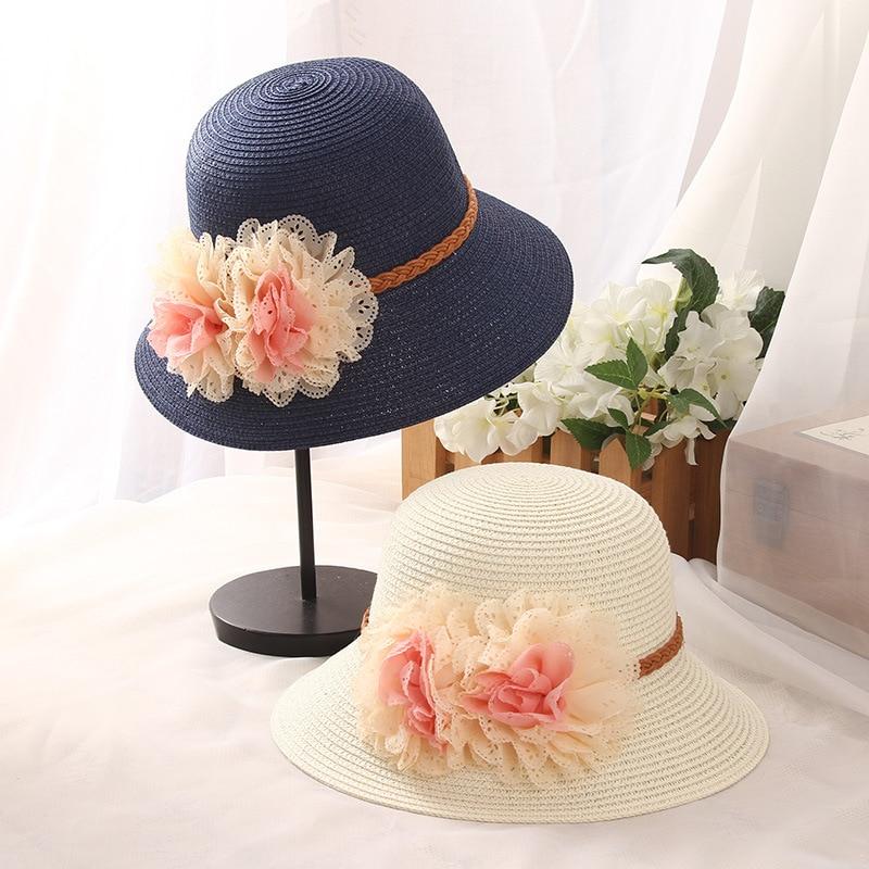 60031d25360c0 HT1730 2018 New Summer Bucket Hat Women Packable Solid Beach Sun Hats  Handmade Big Flower Floppy Wide Brim Hats Ladies Straw Hat