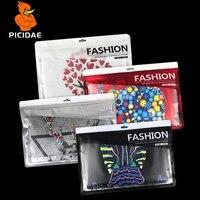 Transparent Printing Hang Hole Window Pattern Aluminized Clothes Bag Packaging Plastic Ziplock Underwear Bra Panties Sock Zipper
