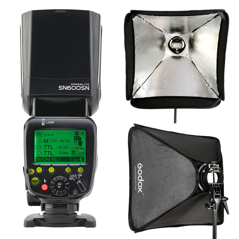 Shanny SN600SN TTL Master HSS Flash Speedlight GN60 for Nikon D7100 D750 D800 + GODOX 60x60 S-type Speedlite Bracket softbox meike mk 910 i ttl flash speedlight hss master as for nikon sb 910 d810 d750 d7100