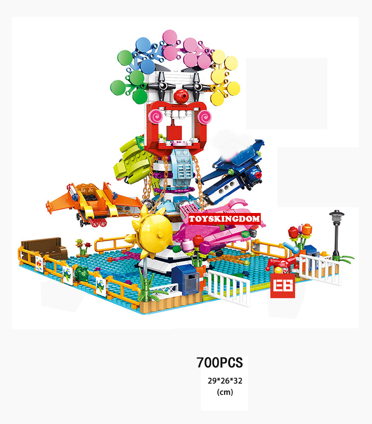 Funny Amusement Park Revolving spaceship game building block Photographer Tourist joker figures Playground bricks toys for kids hot board game camel up funny game for 2 8 players party family game
