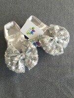 Baby Girl Silver Bow Christening Shoes Satin Baptism Wedding Flower Girl Dress