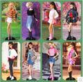 1 компл. Куклы Красивая Ручной Одежда Принцесса Платье Повседневный Стиль Наряд Для Barbie Doll рождественский Подарок Детские Игрушки Бесплатно доставка