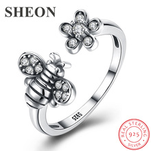 SHEON 100% 925 Sterling Silver Trendy Vintage Bee & Daisy Flower Finger Rings for Women Adjustable Size Valentine Gift Jewelry sheon 100