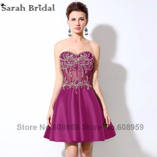 Tienda Online Oro Rhinestone Crystal corto Homecoming vestidos nueva ...