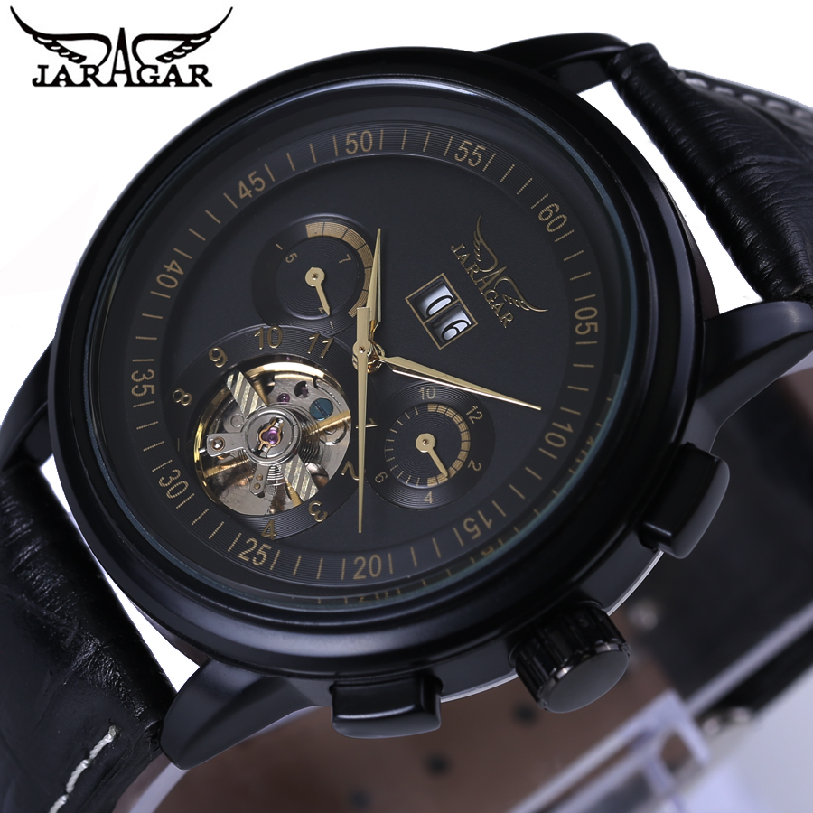 Fashion Luxury Brand JARAGAR Leather Tourbillon Watch Automatic Men Wristwatch Men Mechanical Watches Clock relogio masculino 2015 new masculino fashion luxury brand jaragar mechanical men watches tachymeter tourbillon automatic date dial reloj hombre