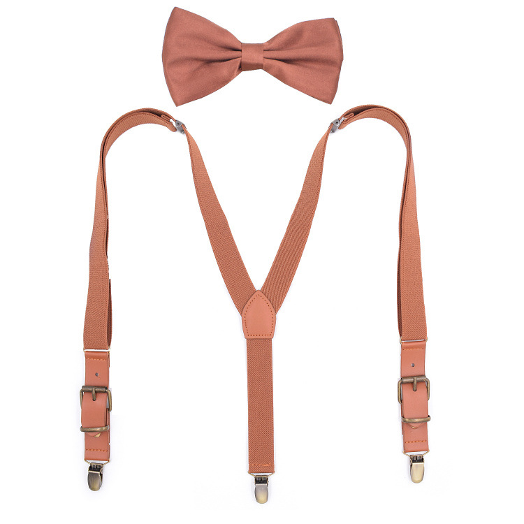 2019 New Monochrome Fashion Three Clip Children's Strap Clip 2.5 Spell Leather Children's Bow Tie Suit Fashion Adjustable