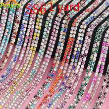 Prajna 2mm AB 1y Rhinestone Chain Rhinestone Trimming Yard Mix Color Applique Sew On Rhinestones For Crafts Jewelry Findings J(China)