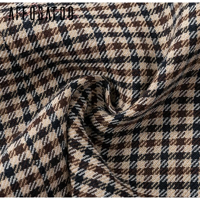 Affogatoo Fashion double breasted plaid blazer women Long sleeve slim OL blazer 18 Casual autumn jacket blazer female 15