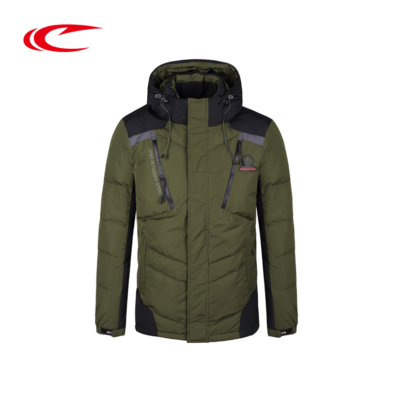 SAIQI Men Thick Skiing Jacket Warm Eiderdown Ski Jackets Gray Duck Down Coat Hooded Outdoor Coats Brand Design Sport Wear Jacket