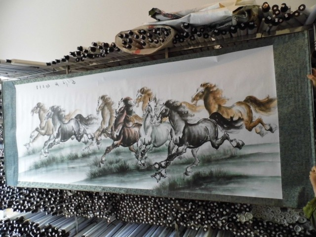 250cm Huge hall Lobby business Home office WALL Decorative painting Success 8 horses FENG SHUI chinese silk painting art