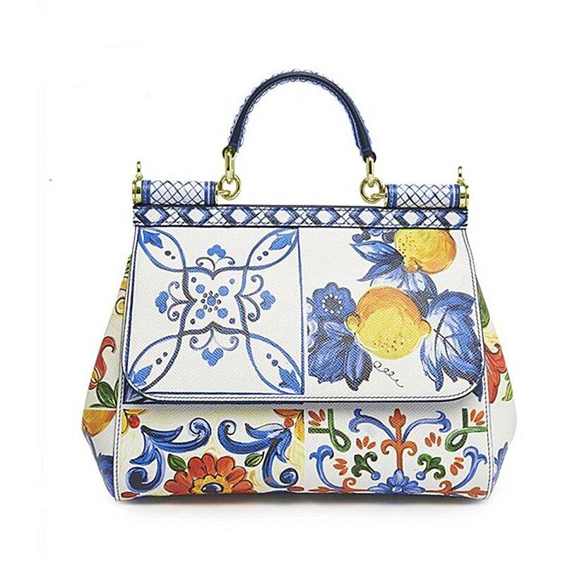 Luxury Flower Print Tote Handbags Genuine Leather Women Shoulder BagsLuxury Flower Print Tote Handbags Genuine Leather Women Shoulder Bags