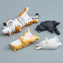 New Arrivals 1pcs Sleeping Dog/Tiger/Cat/Rabbit Resin Action Figures Toys Decoration Refrigerator Paste Kid Gifts 305(China)
