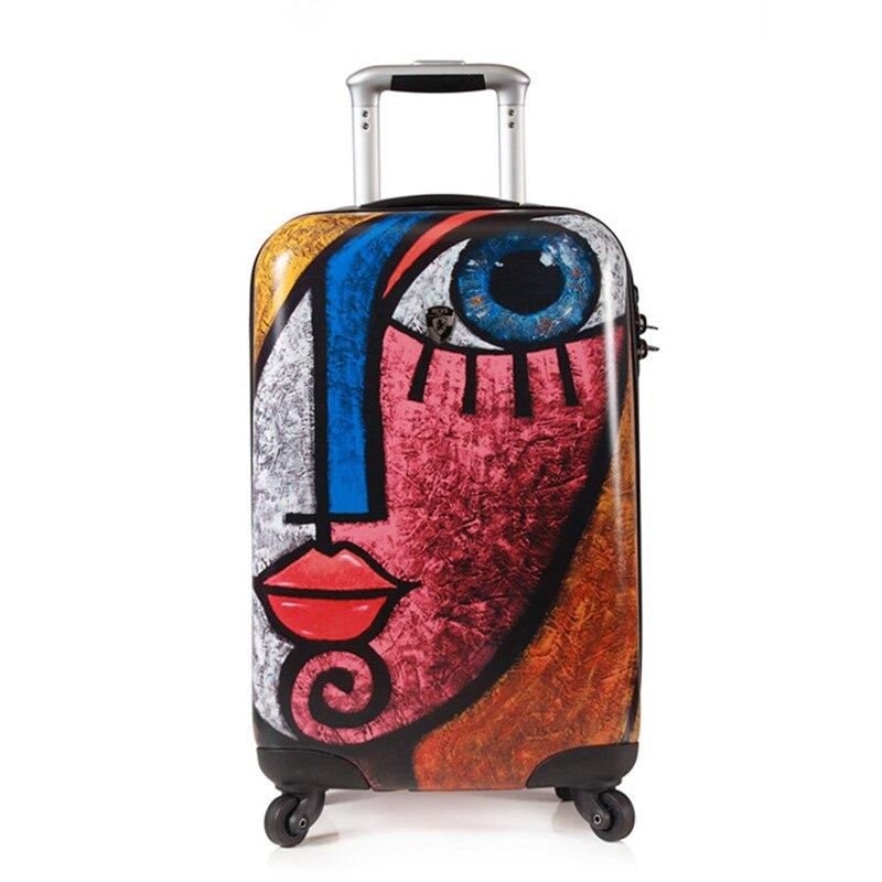 spinner case women travel box 20inch Fashion graffiti luggage suitcase for girls PC trolley bag Big Eyes teenagers boarding case
