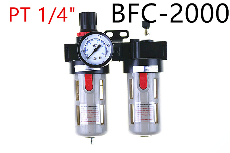 BFC2000 1/4 Air Filter Regulator Combination Lubricator ,FRL Two Union Treatment ,BFR2000 + BL2000