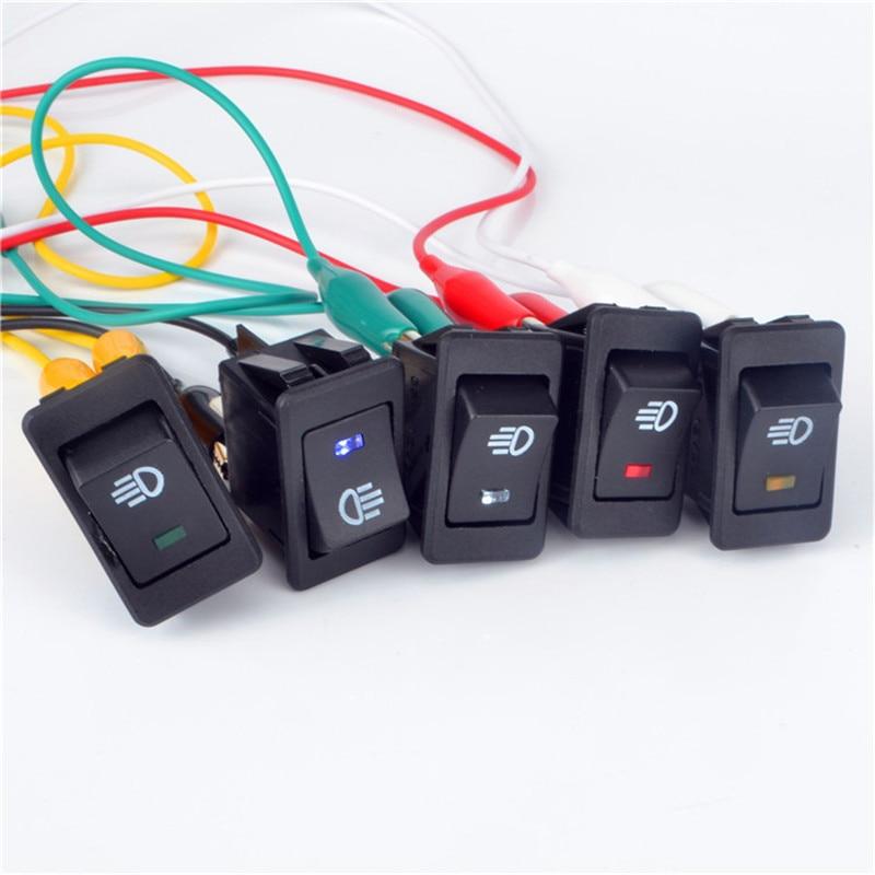 Automobile 12V 35A Blue LED Rocker Switch Car Accessories Car Modification Switch Ship Type Rocker For Fog Light Lamp Universal