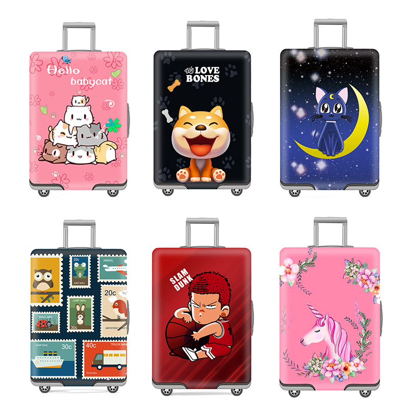 Viaje esencial equipaje protección resistente al desgaste Trolley caso cubierta de polvo turismo maleta elasticidad lindo maletero caso