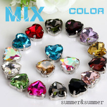 Sewing! MIX COLOR Heart Shape Golden Yellow Crystal Glass Rhinestones with Claw DIY Women's Shoes and Wedding Dresses 20 Colors(China)