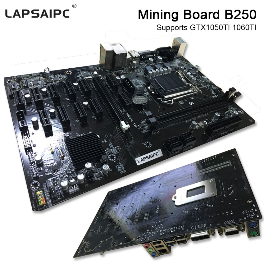 Lapsaipc Board B250 Ming expert 100% tested Motherboard Video Card Interface Supports GTX 1050TI 1060TI For Crypto Minig b250 image