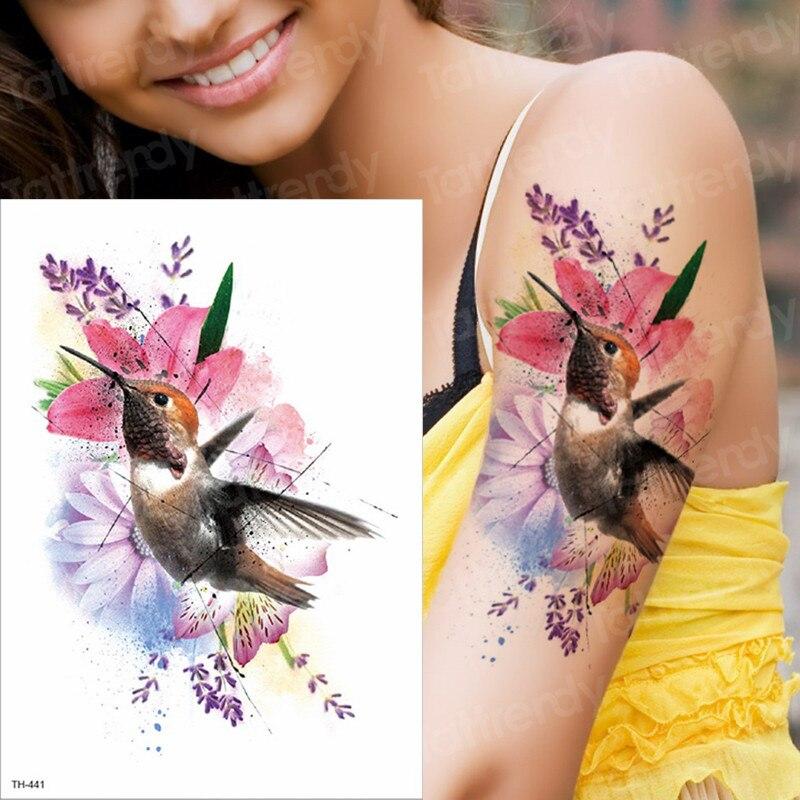 Watercolor Hummingbird Temporary Fake Tattoo Body Art Sticker Waterproof Hand Bird Tattoo For Women Arm Men Tattoos Water Color