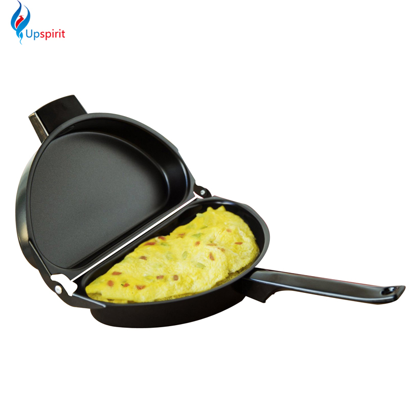 New Design Non-stick Folding Omelette Pan Hand Frying Pan Stainless Iron Double Side Grill Pan 28.5*24cm Outdoor Panelas Pans